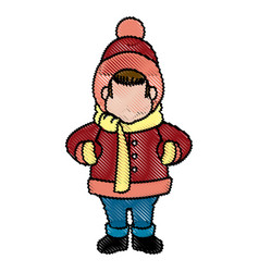 Character man carols singer at a winter clothes vector