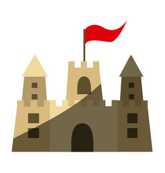 Color silhouette with sand castle with flag and vector
