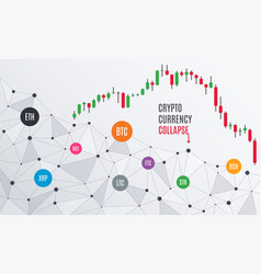 Cryptocurrency collapse candlestick chart vector