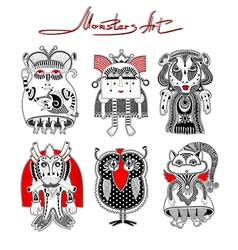Cute ornate doodle fantasy monster vector