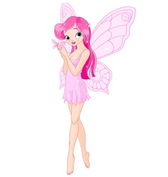 Cute pink fairy with butterfly vector