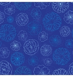 Dark blue night flowers seamless pattern vector