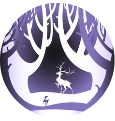 deer in forest with snow in christmas and winter vector image vector image