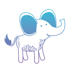 Elephant cartoon in degraded blue to purple color vector
