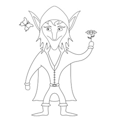 Elf with flower outline vector