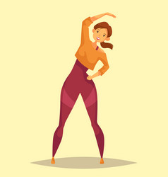 Girl or woman doing limbering or stretching vector