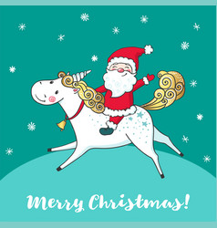 Greeting card with cute unicorn and santa claus vector