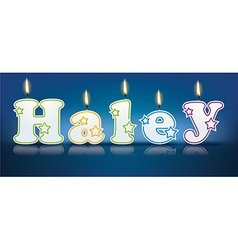 Haley written with burning candles vector