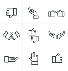 Hand gesture black icons vector
