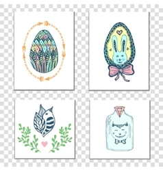 Happy easter cards with hand drawn eggs and cute vector image vector image