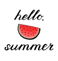 Hello summer rush lettering with watermelon vector