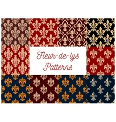 Heraldic set of french fleur-de-lis patterns vector
