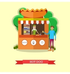 Hot dog stand concept poster city street vector