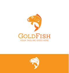 jumping goldfish logo vector image vector image