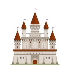 Medieval fortified castle of king or lord symbol vector image