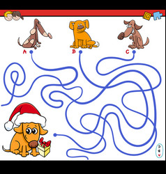 Paths maze game with cartoon dogs vector