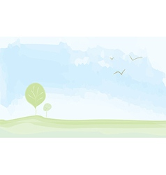 Peaceful landscape summer - watercolor painting vector image