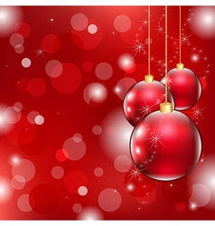Red Christmas Background With Christmas Ball vector image vector image