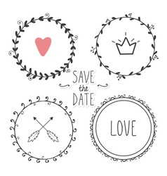 Romantic set of hand drawn wreaths vector image