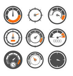 set of different speedometers vector image vector image