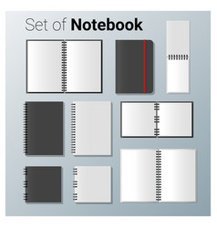Set of realistic notebook vector