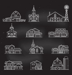 set of thin line icon suburban american vector image vector image