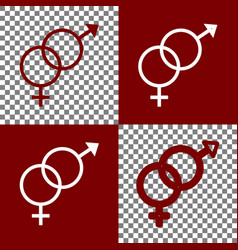 Sex symbol sign bordo and white icons and vector