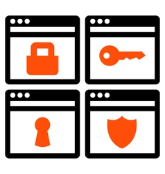 Web security icons vector image vector image