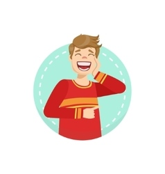 Laughing emotion body language vector