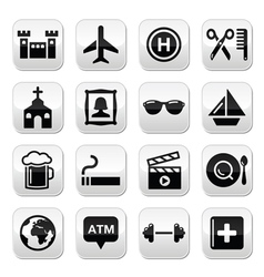 Travel tourism and transport buttons set vector