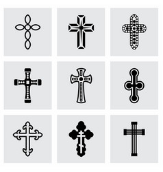 Crosses icon set vector