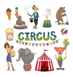 Circus funfair and fairground icon set vector