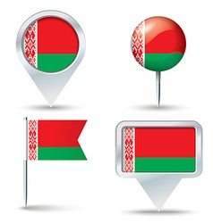 Map pins with flag of belarus vector