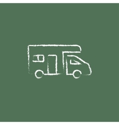 Camper van icon drawn in chalk vector image