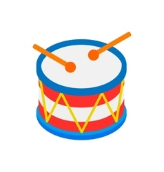 Drum of independence day isometric 3d icon vector