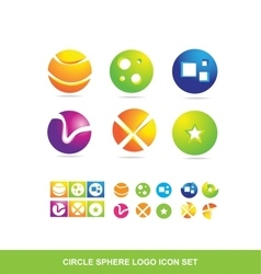 Circle sphere logo icon set vector