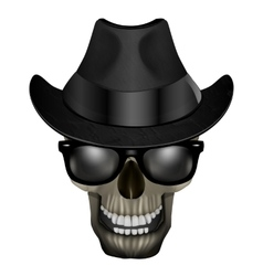 Skull blues with glasses and hat vector