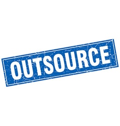 Outsource blue square grunge stamp on white vector