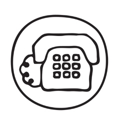 Doodle telephone icon vector