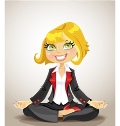 Elegant business woman meditating for success vector