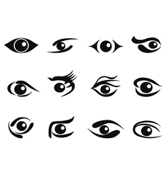abstract eyes icon set vector image vector image