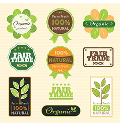 Badge set of certified organic natural farm fresh vector