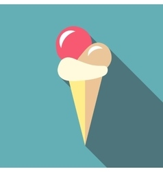 Ball ice cream icon flat style vector