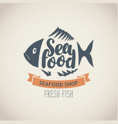 banner for seafood shop with fish and words vector image vector image