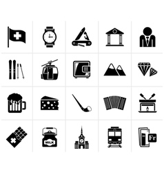 Black switzerland industry and culture icons vector