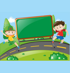board design with two boys on the road vector image