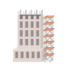 Building under construction with scaffolding in vector