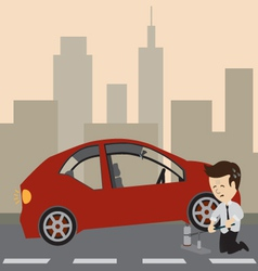 Businessman with a car vector