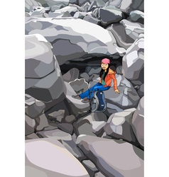 cartoon girl tourist with a backpack in the rocks vector image