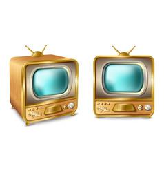 cartoon retro vintage tv set with antenna vector image